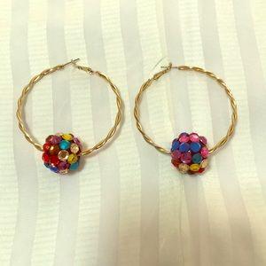 Jewelry - Handmade rainbow plastic accents on goldtone hoops